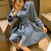 【GZ K2】牛仔洋裝 素面排釦收腰綁帶牛仔連身裙 娃娃領襯衫裙