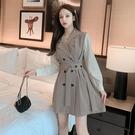 實拍2020秋冬新款長袖收腰氣質拼接假兩件a字西裝連身裙西裝