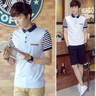 Mao  最新款日韓新品商務休閒特色造型條紋翻領短袖POLO衫