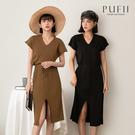 限量現貨◆PUFII-洋裝 直坑條V領綁帶針織洋裝-0916 現+預 秋【CP21038】