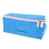 小禮堂 哆啦A夢 方形尼龍拉鍊筆袋 鉛筆盒 鉛筆袋 (藍 LOGO) 4930972-50181