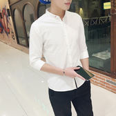 版修身潮流立領7分襯衣純白色休閒中袖