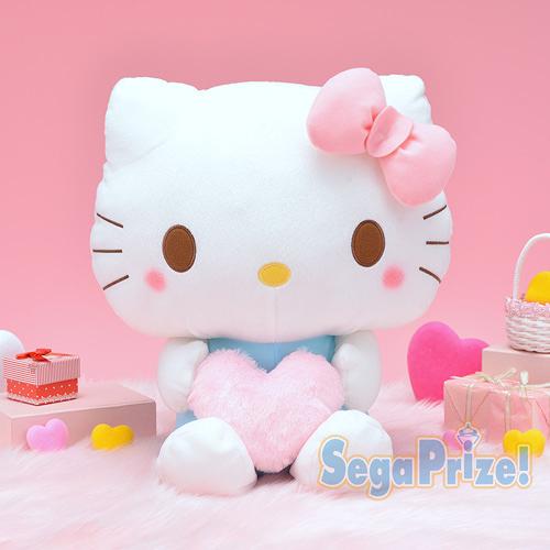 日本SEGA PLAZA 景品  手拿愛心HELLO KITTY絨毛娃娃