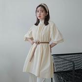 現貨-MIUSTAR 直條細壓褶排釦圓領挺版斜紋布洋裝(共3色)【NJ0421】