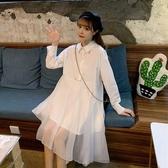 網紗裙春秋2020新款學院風不規則網紗拼接小眾寬鬆高腰長袖連身裙女學生