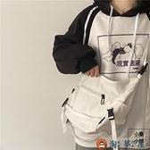 日系機能工裝帆布包女韓國簡約百搭單肩側背斜背包【淘夢屋】