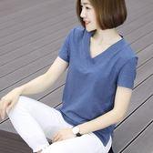 大呎碼短袖顯瘦v領韓版夏季純棉新款打底上衣 JD3614【KIKIKOKO】