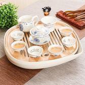 功夫茶具簡約茶盤家用儲水日式圓形方形托盤特價小茶台干泡盤密胺