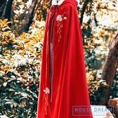 斗篷外套女 披風女古風繡花外套加長款女冬季加厚保暖斗篷