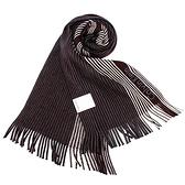 Calvin Klein新款拼色條紋流蘇圍巾(酒紅色)103215-3