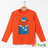 印花長袖T恤05橘紅-bossini男童