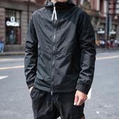 秋季新款黑色連帽夾克男修身韓版休閒加棉外套男士潮流衝鋒衣青年