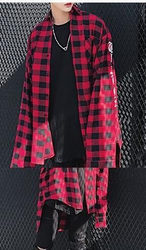 找到自己 品牌 歐美高街男款 袖子紅黑格襯衫 吊帶 格子 襯衫
