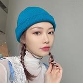 毛線帽秋冬保暖百搭簡約男女日系針織帽【少女顏究院】