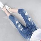 牛仔七分褲 破洞牛仔褲女七分哈倫褲夏季新款韓版寬鬆顯瘦簿款7分中褲潮 生活主義