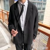 秋季港風西裝外套男新款休閒學生黑色單西韓版潮流文藝西服上衣潮 茱莉亞