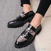 皮鞋 春秋韓版尖頭布洛克小皮鞋男英倫發型師潮鞋子漆皮內增高雕花男鞋 3C優購