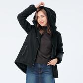 BigTrain簡約短毛裡鋪棉連帽外套-女-黑-S.M.L.XL