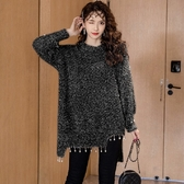 流蘇掛珠亮絲不規則下擺H版毛衣[98962-QF]美之札時尚館