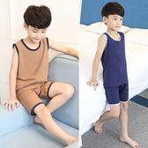 兒童睡衣男童睡衣夏季薄款純棉中大童短袖家居服夏天小孩背心套裝