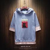 2018夏季新款連帽七分袖潮中袖T恤男士寬鬆