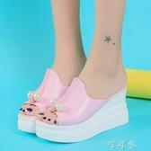 春夏優雅淑女珍珠魚嘴坡跟女拖鞋厚底鬆糕超高跟時尚涼拖 交換禮物