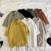 夏季新款短袖襯衫男寬鬆工裝五分袖襯衣男士韓版潮流帥氣半袖上衣 蘿莉小腳丫