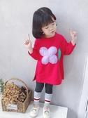 女童大學T2018新款寶寶秋裝中長款上衣洋氣兒童韓版長袖大學T裙
