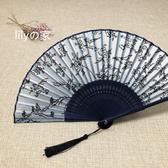 扇子  6寸日式和風江戶日本和服扇竹柄男女真絲扇便攜扇子