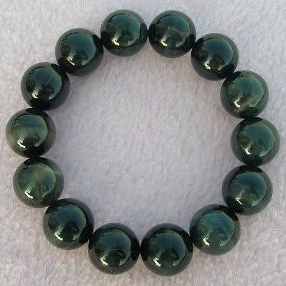 【歡喜心珠寶】【天然南非藍虎眼石帶黃圓珠14.5mm手串】14粒,閃爍金鷹眼「附保証書」
