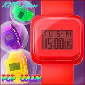 輕甜果凍感繽紛配色夜光果凍錶/手錶 糖果色 多功能電子錶 LED 中性錶 兒童錶 女錶
