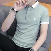 春季潮流韓版襯衫領短袖POLO衫2020新款有帶領短袖T恤男翻領衣服 美芭