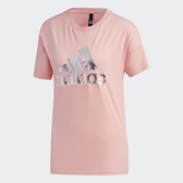 Adidas 女款粉紅色閃亮logo短袖上衣-NO.FT2892