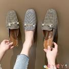 穆勒鞋包頭半拖鞋女2021夏新款百搭方頭粗跟中跟涼拖外穿時尚樂福鞋穆勒 愛丫 新品