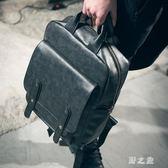 男公事包英倫雙肩包男時尚潮流韓版復古後背包休閒公文包皮質手提包電腦包 KB8112【野之旅】