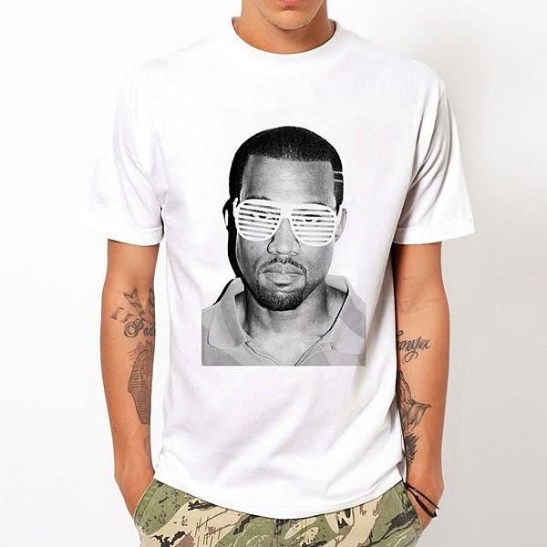 Kanye West-Glasses短袖T恤-白色 rap hip hop音樂搖滾插畫潮流趣味藝術