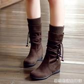 馬丁靴女秋冬新款平底內增高顯瘦中筒靴大碼中跟套筒厚底楔形單靴 居家物語