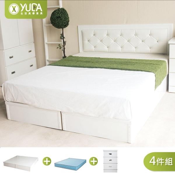 黛曼特純白色 房間組四件組(床頭片+加厚六分床底+床墊+床邊櫃) 雙人加大6尺 新竹以北免運【YUDA】