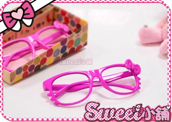 韓妮小舖 蝴蝶結亮框眼鏡架 眼鏡框 無鏡片眼鏡框 造型眼鏡【EX0388】