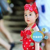 (百貨週年慶)女童泳裝兒童泳衣女寶寶溫泉中小童女孩連體波點愛心公主泳裝嬰幼兒送發帶