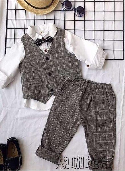 男童禮服套裝 夏兒童禮服男花童禮服西裝套裝夏男寶寶周歲禮服夏【潮咖地帶】