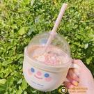 IG網美韓國創意吸管杯塑料馬克杯可愛水杯早餐碗牛奶杯少女杯子【小獅子】
