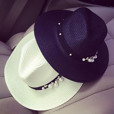 草帽遮陽帽ManStyle潮流嚴選韓版花朵珍珠鉚釘黑白雙色草帽遮陽帽沙灘帽【02U0167】