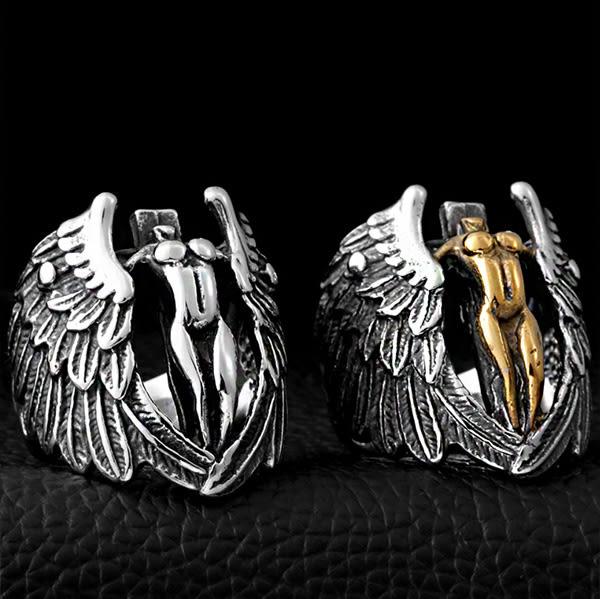 《 QBOX 》FASHION 飾品【RBR8-050】精緻個性天使羽翼鑄造鈦鋼戒指/戒環(二色)