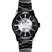 RELAX TIME RT62系列 人動電能地球腕錶-銀x黑/45mm RT-62K-1