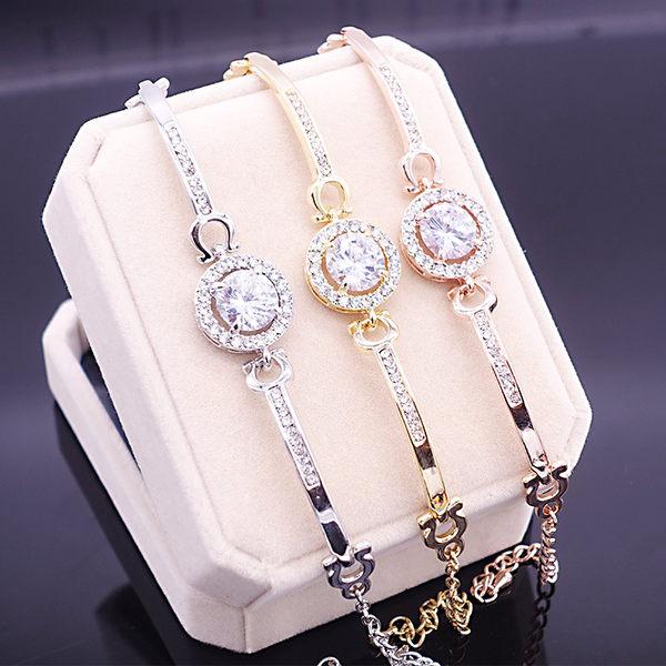 s925純銀韓版女士圓形鋯石手錬百搭手鐲銀首飾 飾品手錶搭配 良品鋪子 良品鋪子