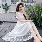 VK旗艦店 韓系氣質優雅蕾絲雪紡長裙甜美透視短袖洋裝