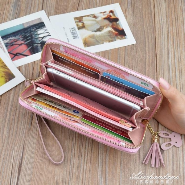 日韓女士錢包女長款拉錬流蘇拼接手拿包大容量新款學生錢夾手機包 黛尼時尚精品