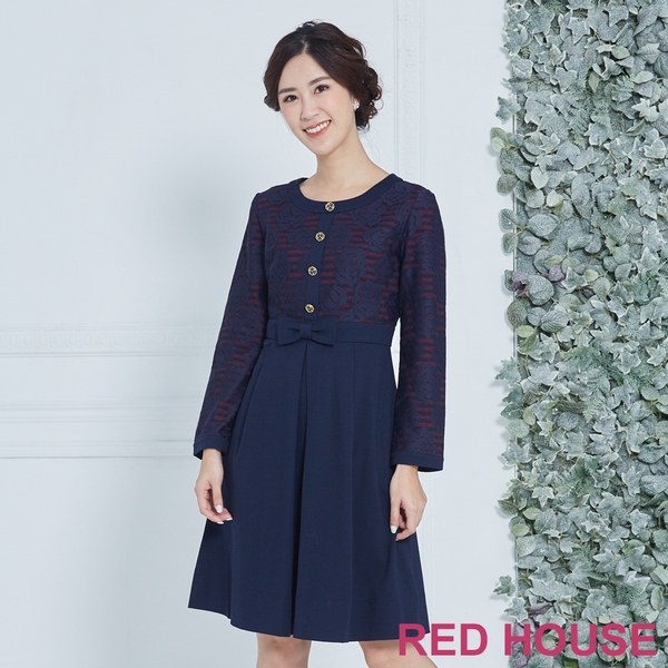 【RED HOUSE 蕾赫斯】優雅玫瑰條紋洋裝(共2色)