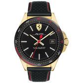 Scuderia Ferrari Pilota 飆風再起時尚手錶-黑x金框/45mm FA0830490